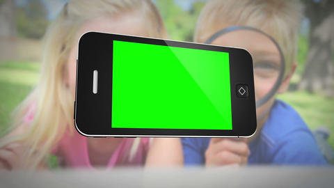 Smartphone with green screen in front of family outdoors, Stock Animation