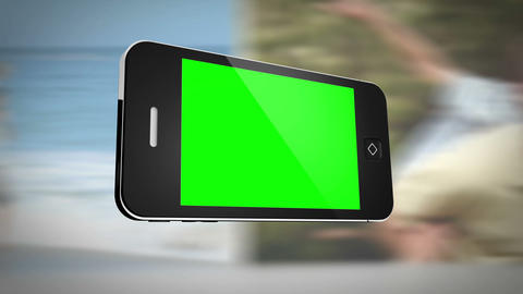 Smartphone with green screen in front of family outdoors Animation