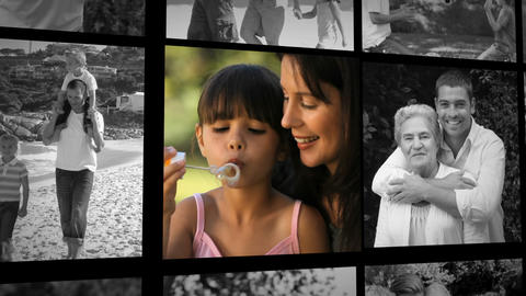 Three short clips about a family playing outdoors Animation