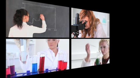 Several different short clips showing lab assistants Animation