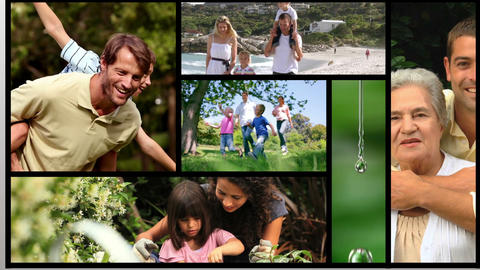 Short clips showing families outdoors Animation