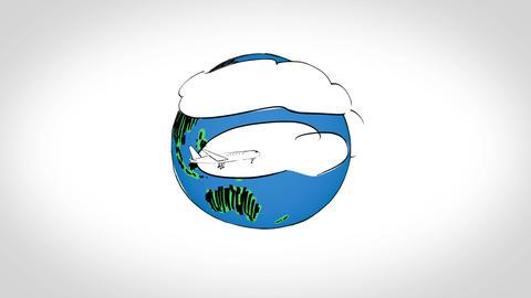 Animation of drawn plane circling around earth Animation