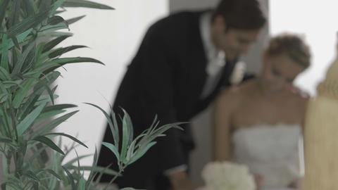 Happy Bridal Couple Signing Something stock footage