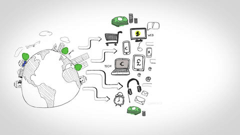 Animation of graphics showing global consumer behavior Animation