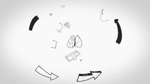 Black white animation showing man having ideas and business plan Animation