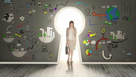 Businesswoman posing in glowing keyhole surrounded Animation