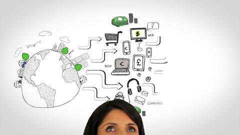 Colored animation showing global consumer behavior and woman watching Animation