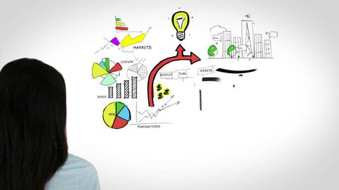Colored animation showing business plan and a woman touching Animation