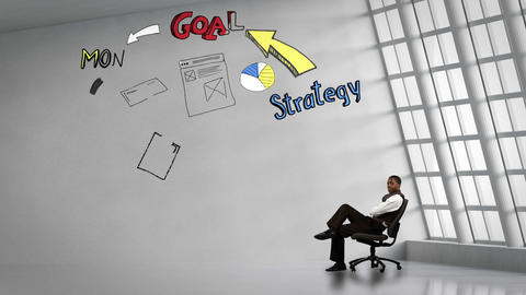 Businessman sitting next to animated business plan cycle Animation
