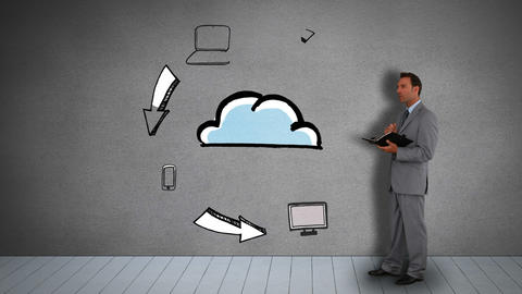 Businessman with diary watching animated electronic devices circling cloud Animation