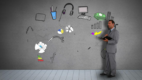 Businessman with diary watching animated consumer behavior illustration Animation