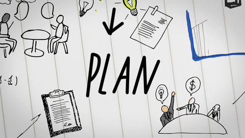 Colored animation of business plan drawn into notebook Animation