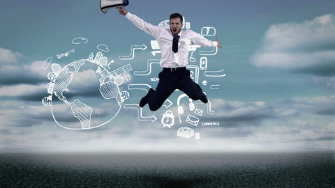 Businessman jumping in front of animated global consumer behavior Animation
