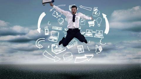 Businessman jumping in front of animated business plan Animation