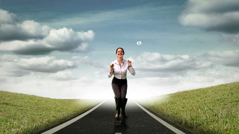 Happy businesswoman jumping in front of flying sheets Animation