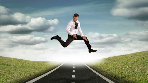 Businessman jumping and spreading legs Animation