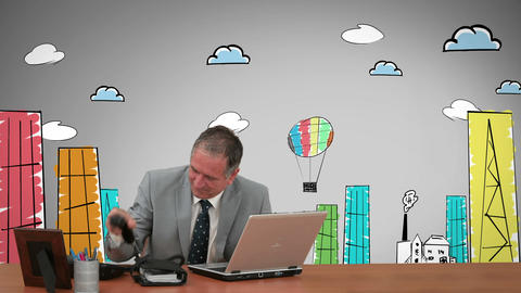 Content businessman working in front of animated city Animation