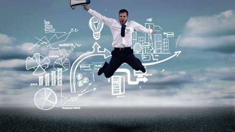 Screaming businessman jumping in front of animated business plan Animation