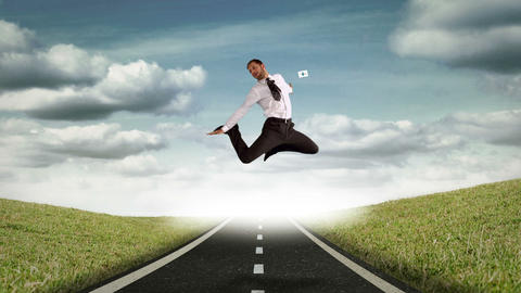Businessman jumping in the air in front of flying sheets Animation