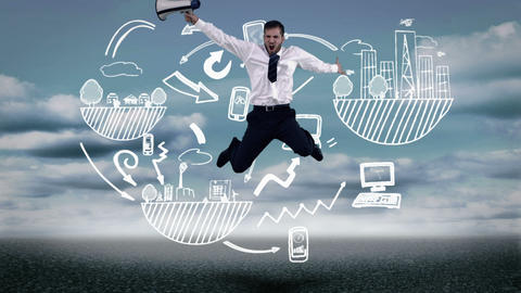Businessman jumping in front of animated global influence graphic Animation