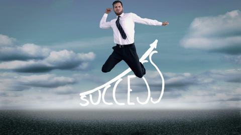 Handsome happy businesswoman jumping in front of success graphic Animation