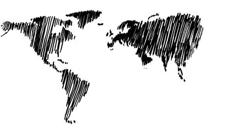 Slowly gestating world map Animation