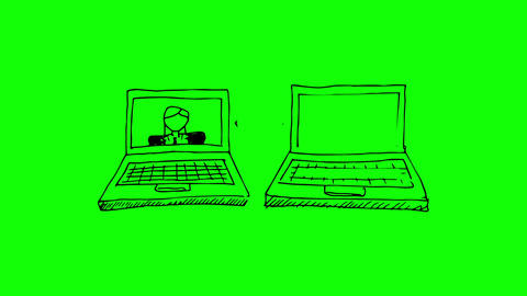 Painting of gestating laptops with businesspeople  Animation