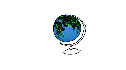 Animation of rotating globe transforming to a ligh Animation