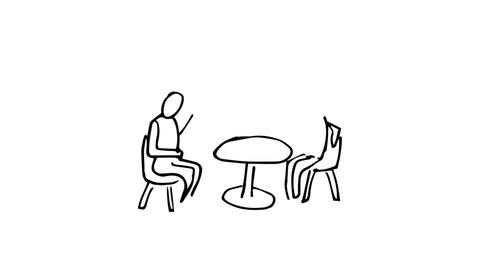 Animation of slowly appearing painted people sitting at desk chatting Animation