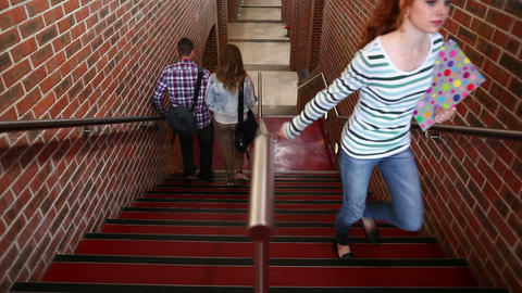 Students walking up and down the stairs Footage