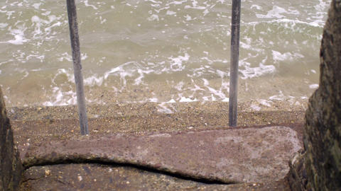 Concrete steps leading into the sea Footage
