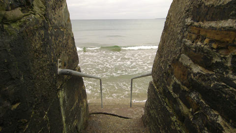 Concrete steps leading into the ocean Footage