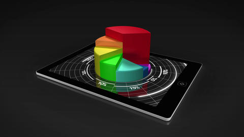 Colourful 3d pie chart on tablet pc Animation