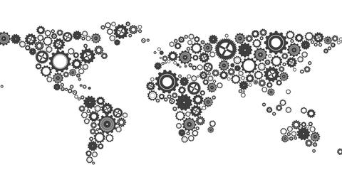 World map made of cogs and wheels Animation