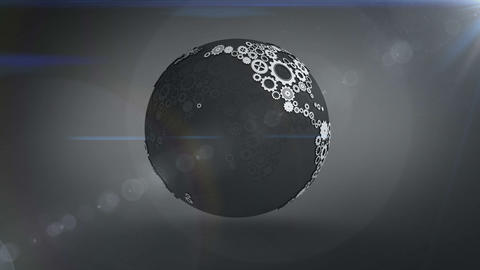 Spinning earth made of cogs and wheels Animation