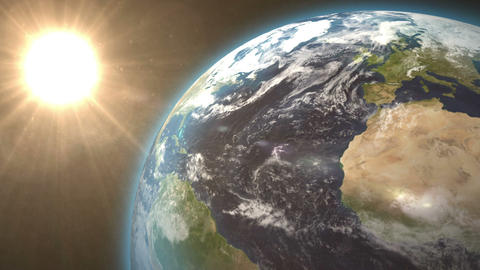 Revolving earth and bright sun Animation