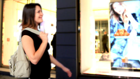 Blue screen beautiful girl shop bag shopping Stock Video Footage