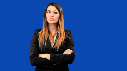 Blue screen beautiful business woman girl talk Stock Video Footage