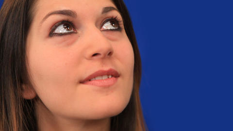 Blue screen beautiful girl look up career dream Stock Video Footage