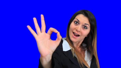 blue screen beautiful business woman concept sign perfect... Stock Video Footage