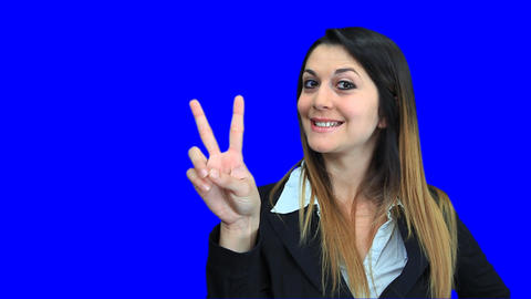 blue screen beautiful business woman girl concept sign victory Footage