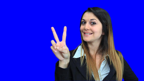 blue screen beautiful business woman girl concept sign... Stock Video Footage