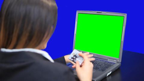 blue screen beautiful business woman girl laptop online... Stock Video Footage
