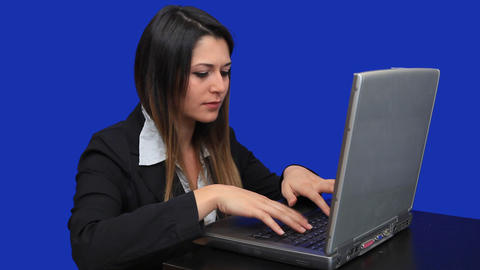 blue screen beautiful business woman girl laptop o Stock Video Footage