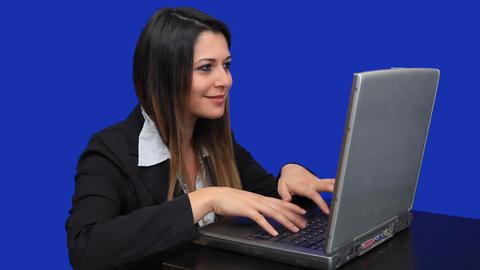 blue screen beautiful business woman girl laptop o Footage