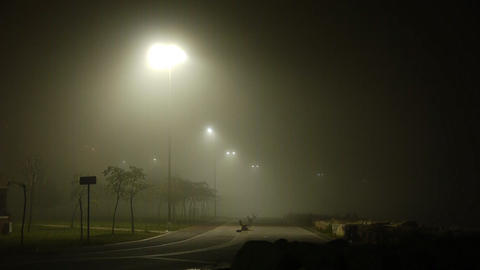 Foggy weather at night street park Footage