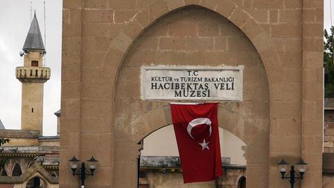 house of haci bektas veli anatolian town mosque house... Stock Video Footage