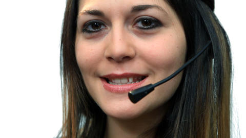 White background beautiful business woman girl talk call... Stock Video Footage