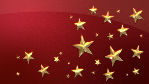 Looping Gold Stars on Metallic Red HD Animation
