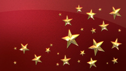 Looping Gold Stars on Metallic Red HD Stock Video Footage